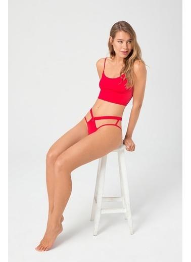 Cottonhill Transparan Lastik Detaylı Dekolteli Kadın Hipster Külot Kırmızı